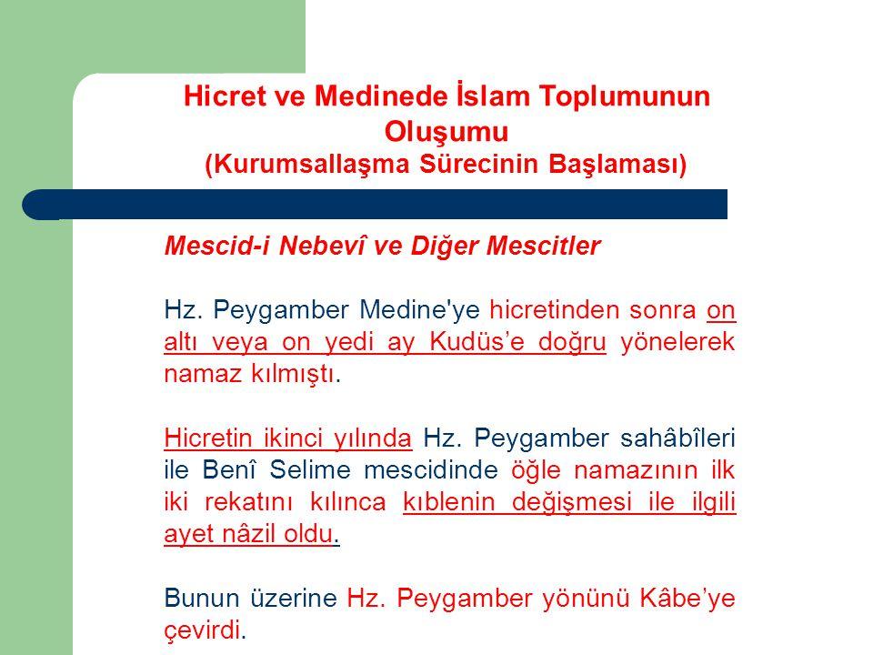 Mescid-i Nebevî ve Diğer Mescitler Hz. Peygamber Medine'ye hicretinden sonra on altı veya on yedi ay Kudüs'e doğru yönelerek namaz kılmıştı. Hicretin