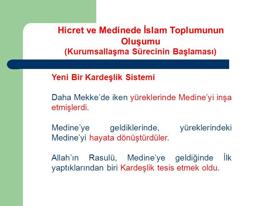 Yeni Bir Kardeşlik Sistemi Daha Mekke'de iken yüreklerinde Medine'yi inşa etmişlerdi. Medine'ye geldiklerinde, yüreklerindeki Medine'yi hayata dönüştü