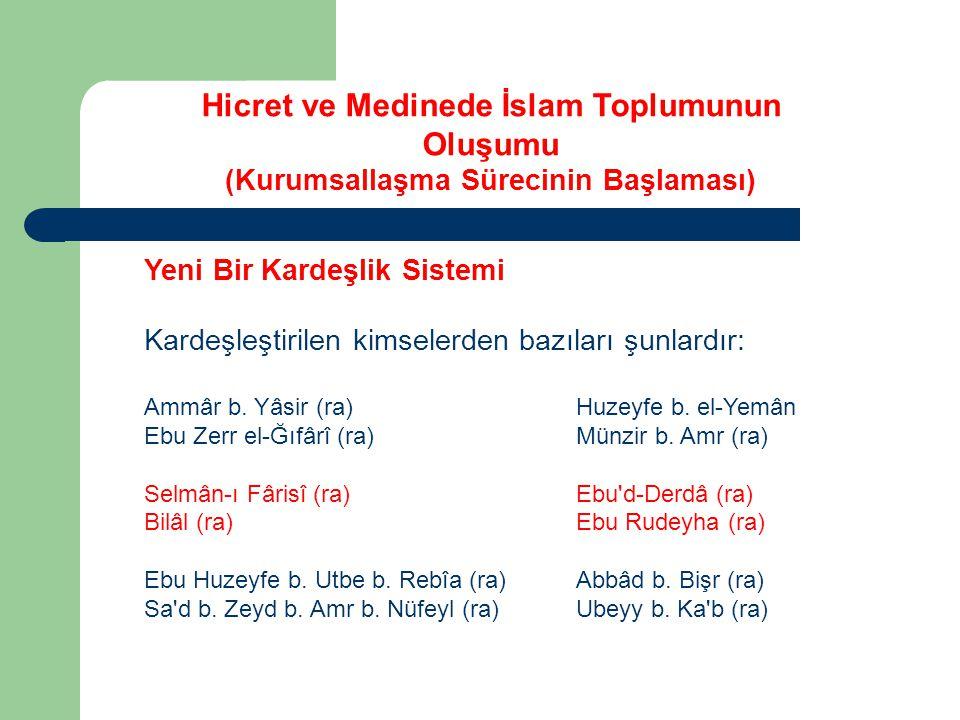 Yeni Bir Kardeşlik Sistemi Kardeşleştirilen kimselerden bazıları şunlardır: Ammâr b. Yâsir (ra) Huzeyfe b. el-Yemân Ebu Zerr el-Ğıfârî (ra) Münzir b.