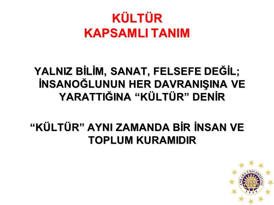 """KÜLTÜR KAPSAMLI TANIM YALNIZ BİLİM, SANAT, FELSEFE DEĞİL; İNSANOĞLUNUN HER DAVRANIŞINA VE YARATTIĞINA """"KÜLTÜR"""" DENİR """"KÜLTÜR"""" AYNI ZAMANDA BİR İNSAN V"""