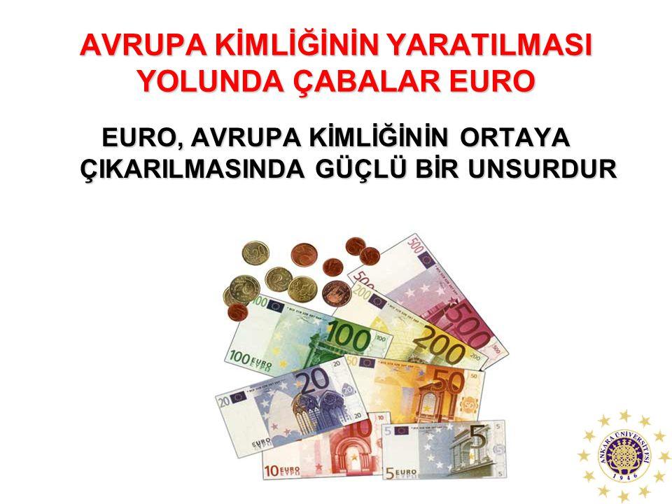 AVRUPA KİMLİĞİNİN YARATILMASI YOLUNDA ÇABALAR EURO EURO, AVRUPA KİMLİĞİNİN ORTAYA ÇIKARILMASINDA GÜÇLÜ BİR UNSURDUR