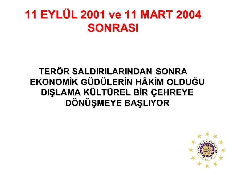 11 EYLÜL 2001 ve 11 MART 2004 SONRASI TERÖR SALDIRILARINDAN SONRA EKONOMİK GÜDÜLERİN HÂKİM OLDUĞU DIŞLAMA KÜLTÜREL BİR ÇEHREYE DÖNÜŞMEYE BAŞLIYOR