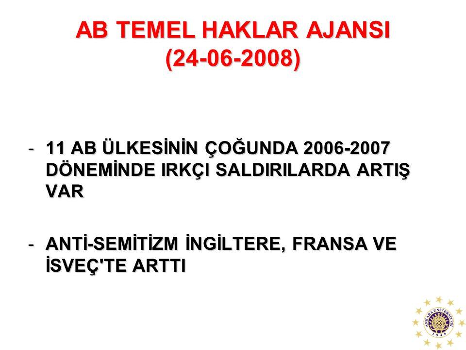 AB TEMEL HAKLAR AJANSI (24-06-2008) -11 AB ÜLKESİNİN ÇOĞUNDA 2006-2007 DÖNEMİNDE IRKÇI SALDIRILARDA ARTIŞ VAR -ANTİ-SEMİTİZM İNGİLTERE, FRANSA VE İSVE
