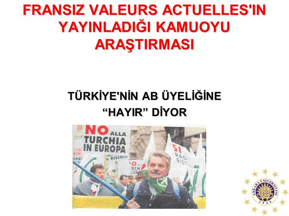 """FRANSIZ VALEURS ACTUELLES'IN YAYINLADIĞI KAMUOYU ARAŞTIRMASI TÜRKİYE'NİN AB ÜYELİĞİNE """"HAYIR"""" DİYOR"""