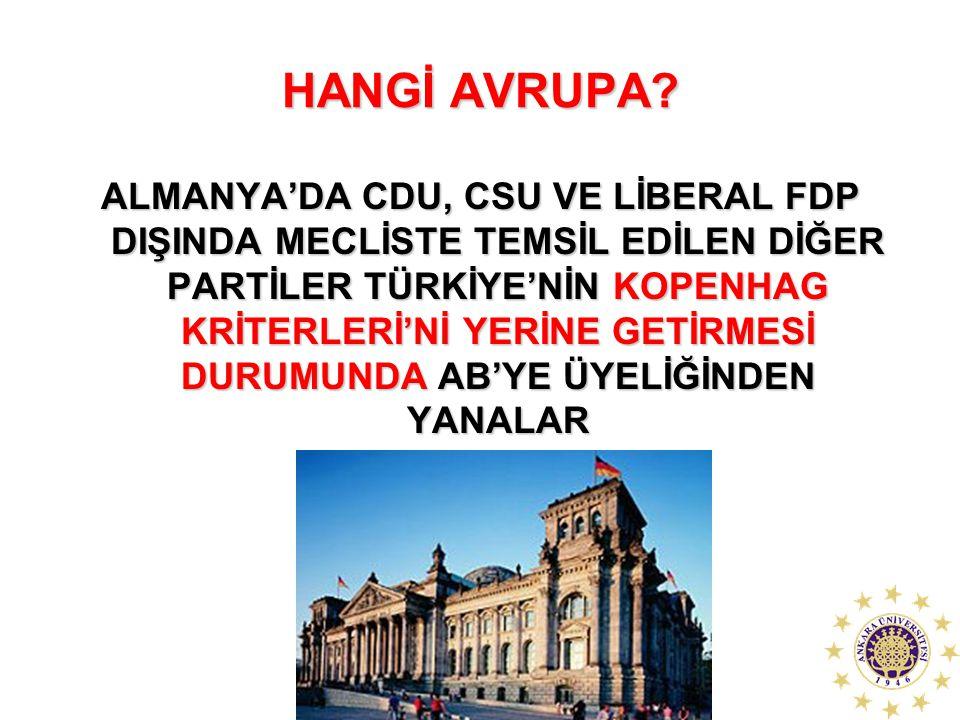 HANGİ AVRUPA? ALMANYA'DA CDU, CSU VE LİBERAL FDP DIŞINDA MECLİSTE TEMSİL EDİLEN DİĞER PARTİLER TÜRKİYE'NİN KOPENHAG KRİTERLERİ'Nİ YERİNE GETİRMESİ DUR