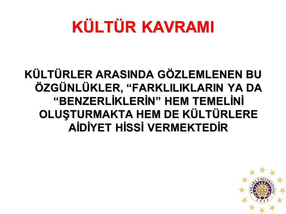 """KÜLTÜR KAVRAMI KÜLTÜRLER ARASINDA GÖZLEMLENEN BU ÖZGÜNLÜKLER, """"FARKLILIKLARIN YA DA """"BENZERLİKLERİN"""" HEM TEMELİNİ OLUŞTURMAKTA HEM DE KÜLTÜRLERE AİDİY"""
