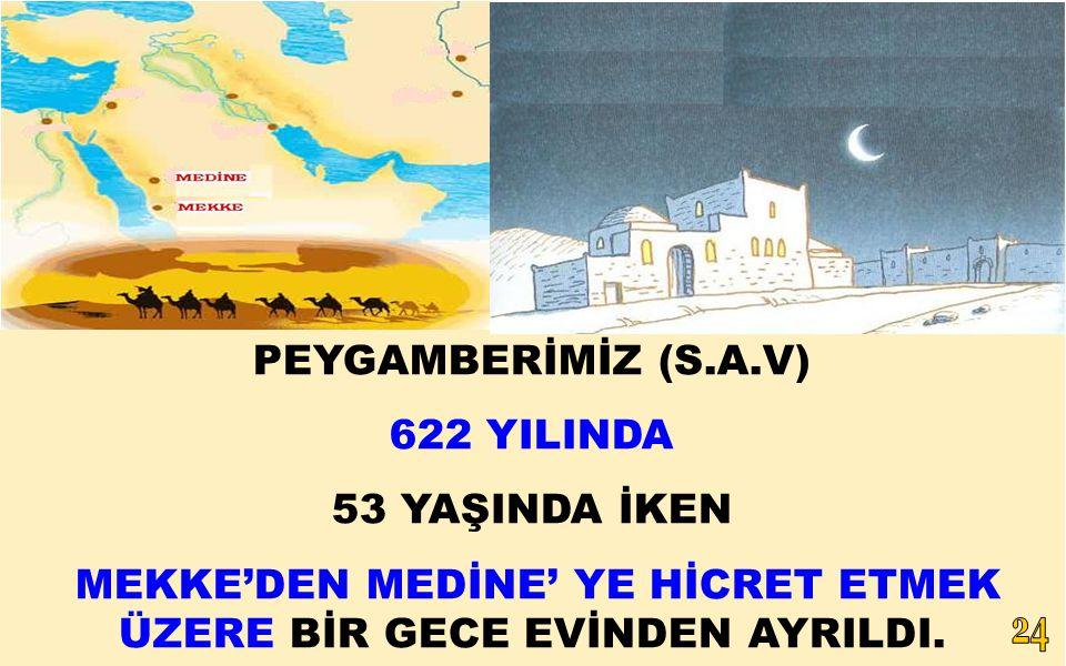 PEYGAMBERİMİZ (S.A.V) 622 YILINDA 53 YAŞINDA İKEN MEKKE'DEN MEDİNE' YE HİCRET ETMEK ÜZERE BİR GECE EVİNDEN AYRILDI.