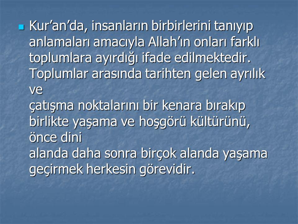 Kur'an'da, insanların birbirlerini tanıyıp anlamaları amacıyla Allah'ın onları farklı toplumlara ayırdığı ifade edilmektedir. Toplumlar arasında tarih
