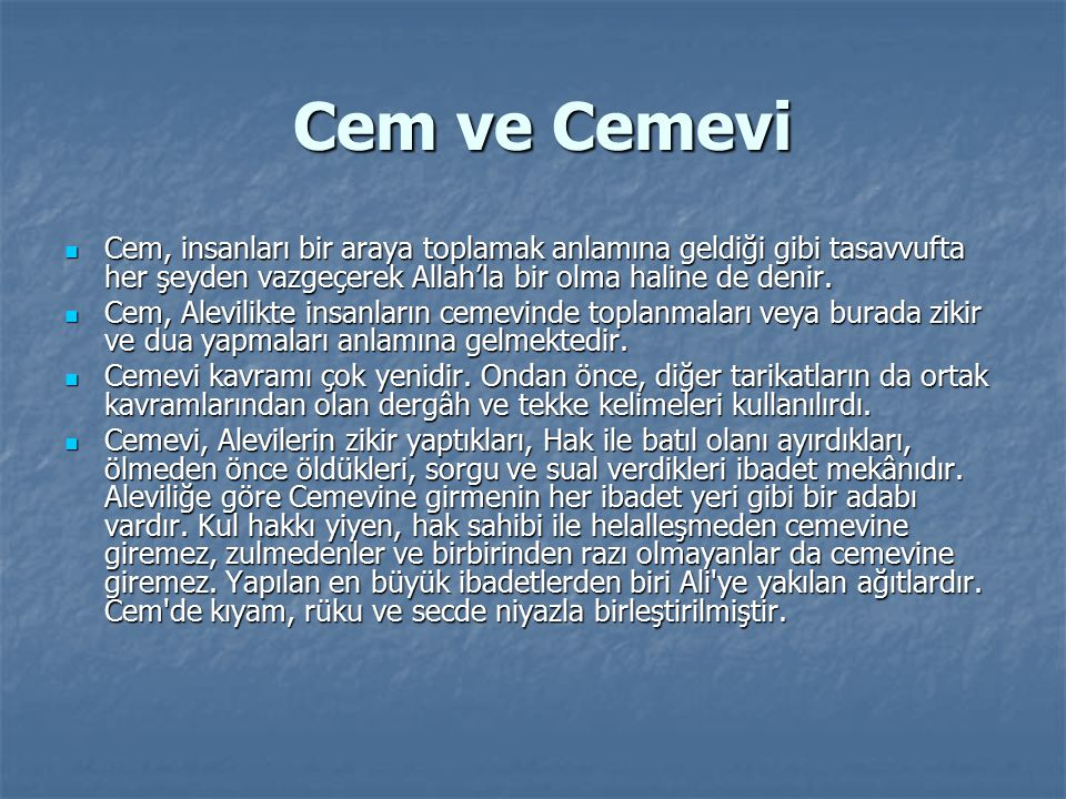 Cami ve Cemevi Cami ve Cemevi Cami ile cemevi birbirinin karşılığı olan kelimeler değildir.