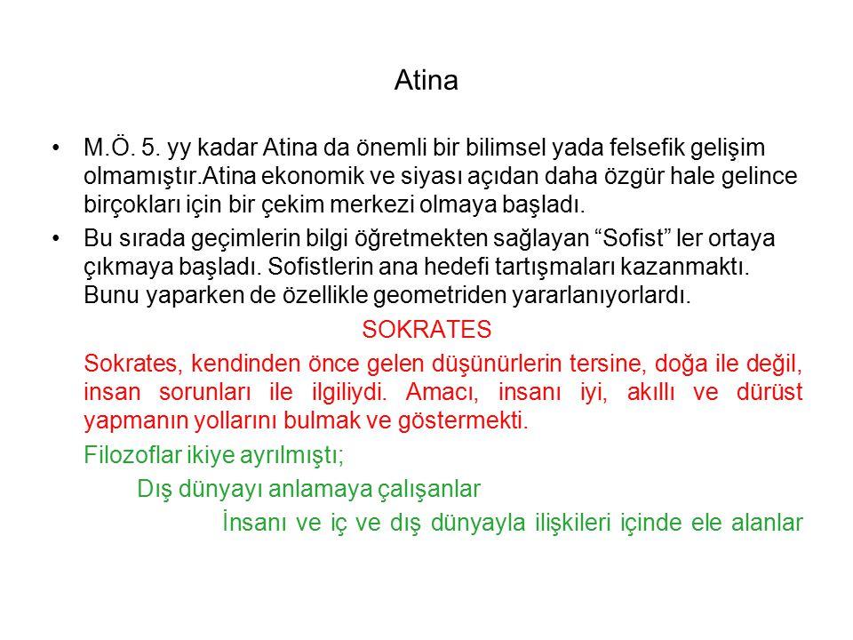 Atina M.Ö. 5. yy kadar Atina da önemli bir bilimsel yada felsefik gelişim olmamıştır.Atina ekonomik ve siyası açıdan daha özgür hale gelince birçoklar