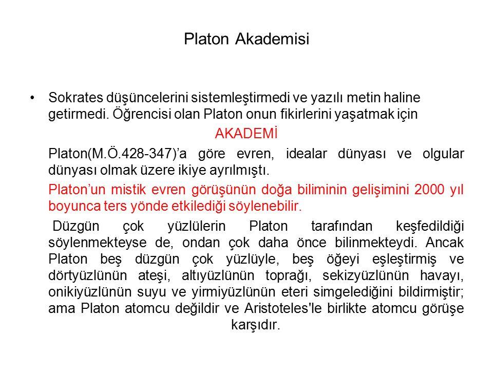 Platon Akademisi Sokrates düşüncelerini sistemleştirmedi ve yazılı metin haline getirmedi. Öğrencisi olan Platon onun fikirlerini yaşatmak için AKADEM