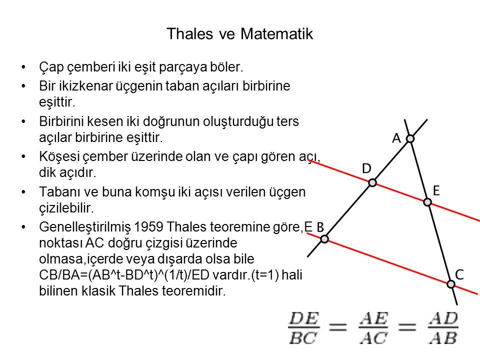 Thales ve Matematik Çap çemberi iki eşit parçaya böler. Bir ikizkenar üçgenin taban açıları birbirine eşittir. Birbirini kesen iki doğrunun oluşturduğ