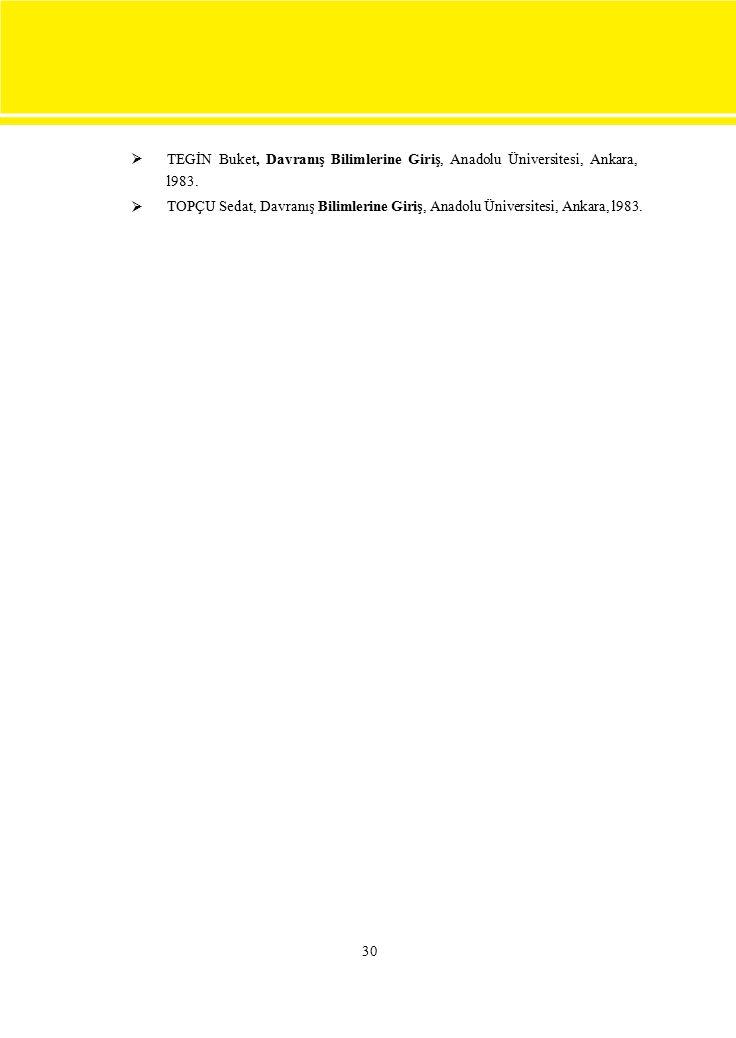  TEGİN Buket, Davranış Bilimlerine Giriş, Anadolu Üniversitesi, Ankara, l983. TOPÇU Sedat, Davranış Bilimlerine Giriş, Anadolu Üniversitesi, Ankar