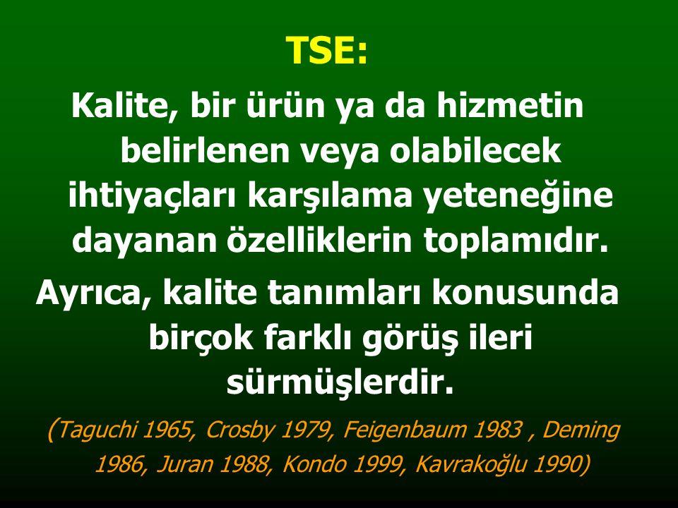 TSE: Kalite, bir ürün ya da hizmetin belirlenen veya olabilecek ihtiyaçları karşılama yeteneğine dayanan özelliklerin toplamıdır. Ayrıca, kalite tanım