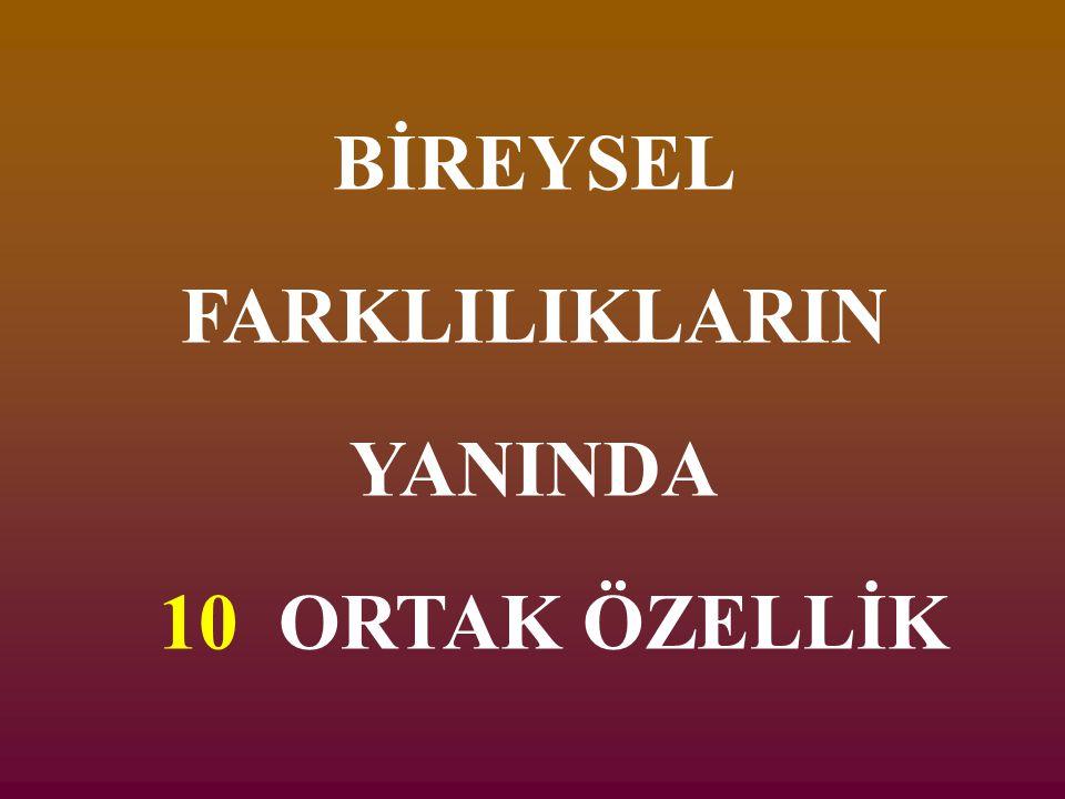 BİREYSEL FARKLILIKLARIN YANINDA 10 ORTAK ÖZELLİK