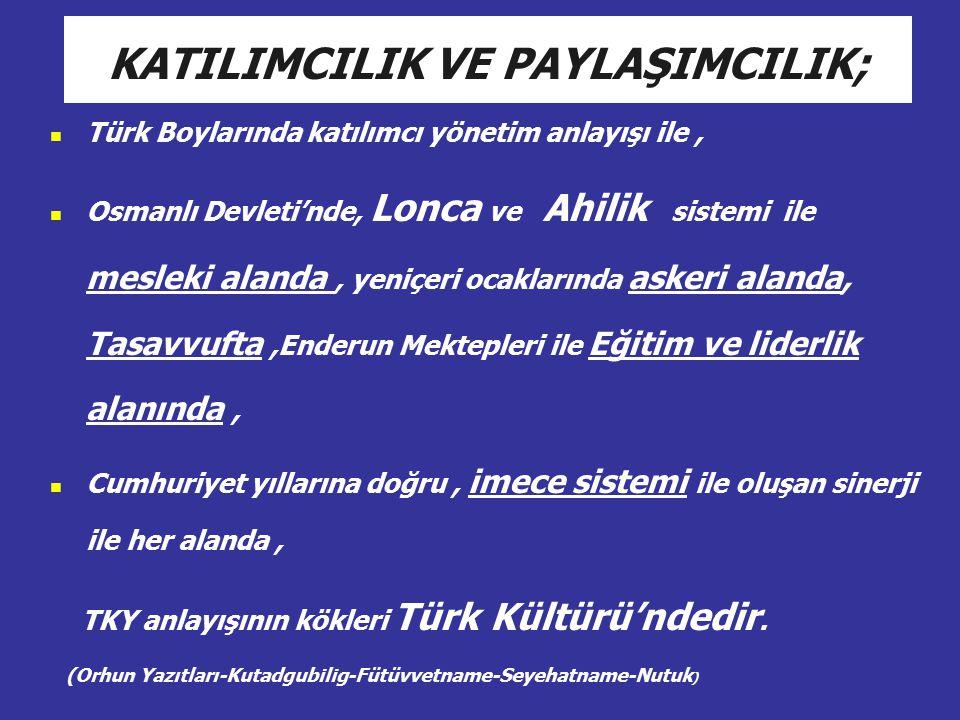 Türk Boylarında katılımcı yönetim anlayışı ile, Osmanlı Devleti'nde, Lonca ve Ahilik sistemi ile mesleki alanda, yeniçeri ocaklarında askeri alanda, T
