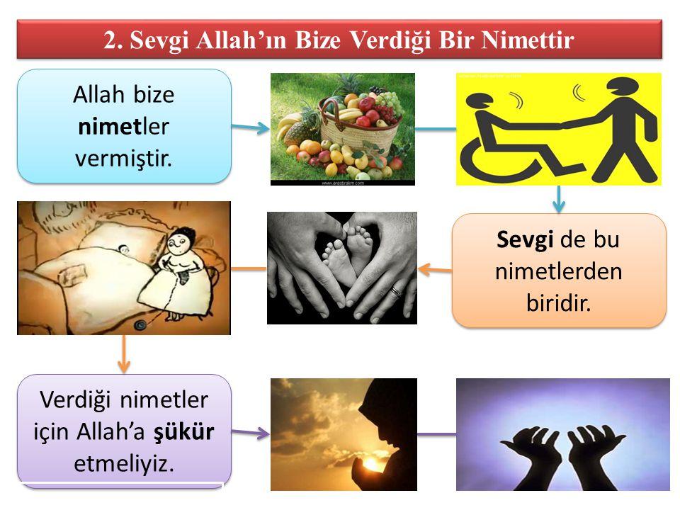 2. Sevgi Allah'ın Bize Verdiği Bir Nimettir Allah bize nimetler vermiştir. Sevgi de bu nimetlerden biridir. Verdiği nimetler için Allah'a şükür etmeli