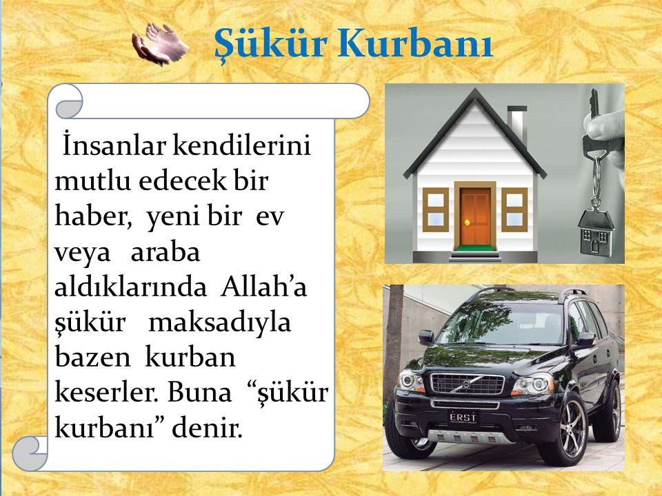 """Şükür Kurbanı İnsanlar kendilerini mutlu edecek bir haber, yeni bir ev veya araba aldıklarında Allah'a şükür maksadıyla bazen kurban keserler. Buna """"ş"""