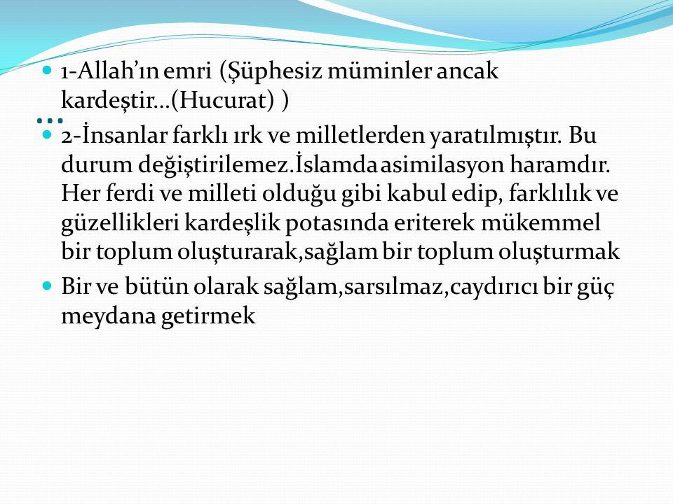 … 1-Allah'ın emri (Şüphesiz müminler ancak kardeştir…(Hucurat) ) 2-İnsanlar farklı ırk ve milletlerden yaratılmıştır. Bu durum değiştirilemez.İslamda