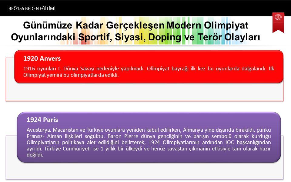 Günümüze Kadar Gerçekleşen Modern Olimpiyat Oyunlarındaki Sportif, Siyasi, Doping ve Terör Olayları BEÖ155 BEDEN EĞİTİMİ (1896) Atina 1920 Anvers 1916 oyunları I.