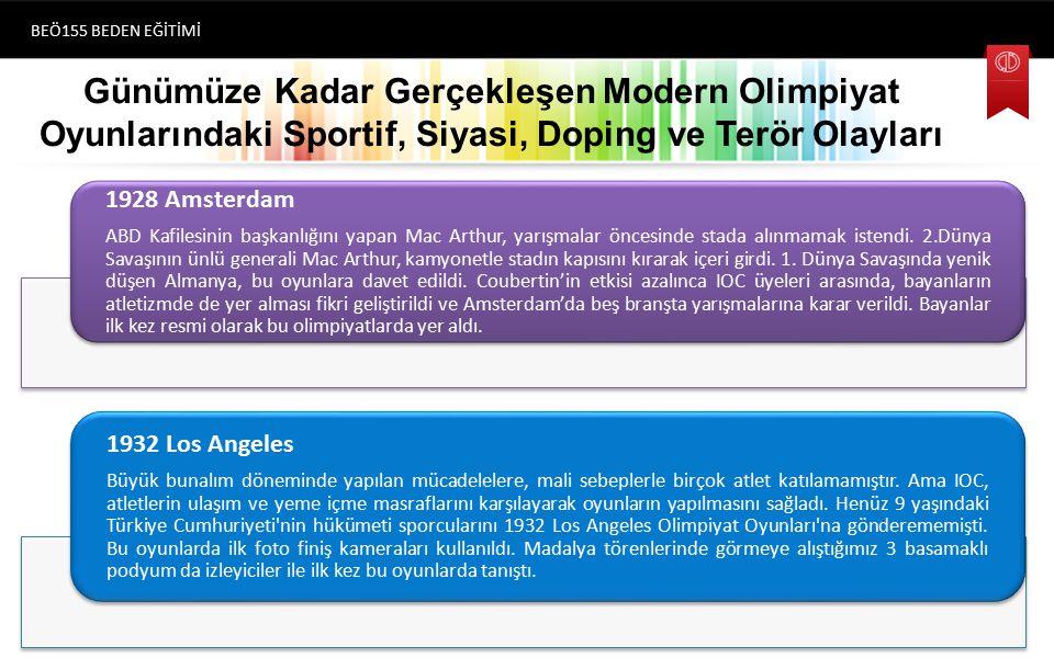 Günümüze Kadar Gerçekleşen Modern Olimpiyat Oyunlarındaki Sportif, Siyasi, Doping ve Terör Olayları BEÖ155 BEDEN EĞİTİMİ (1896) Atina 1928 Amsterdam ABD Kafilesinin başkanlığını yapan Mac Arthur, yarışmalar öncesinde stada alınmamak istendi.