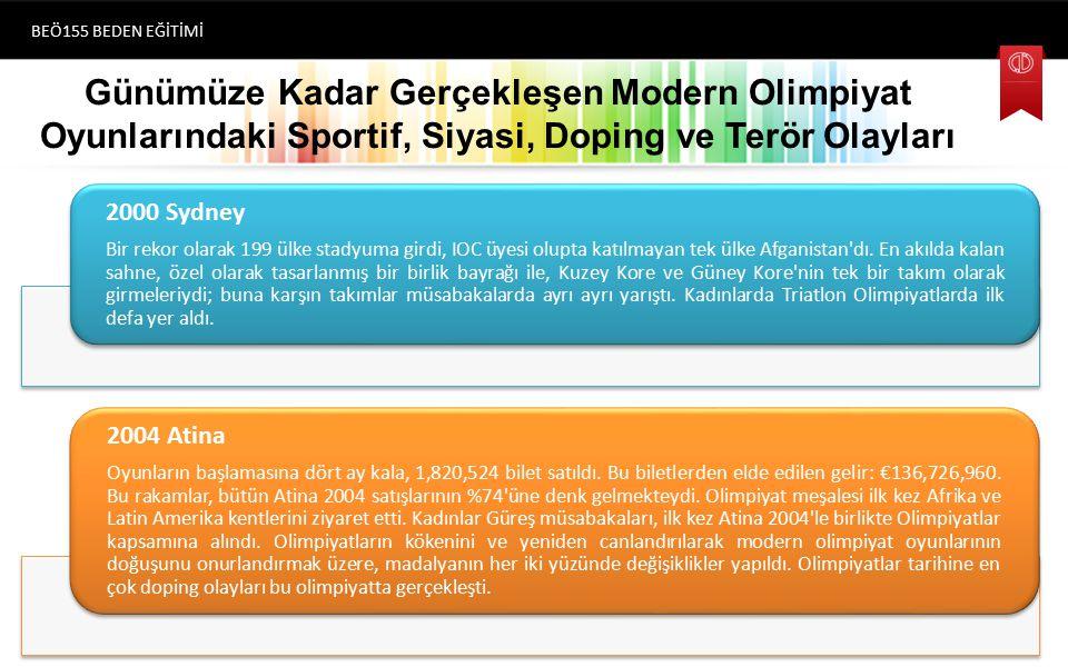 Günümüze Kadar Gerçekleşen Modern Olimpiyat Oyunlarındaki Sportif, Siyasi, Doping ve Terör Olayları BEÖ155 BEDEN EĞİTİMİ (1896) Atina 2000 Sydney Bir rekor olarak 199 ülke stadyuma girdi, IOC üyesi olupta katılmayan tek ülke Afganistan dı.