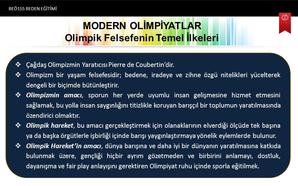 MODERN OLİMPİYATLAR s Simgeler  Olimpiyatların simgesi olarak kullanılan soldan sağa birbiri içine geçmiş olan beş tane bağımsız yüzük/halka vardır.