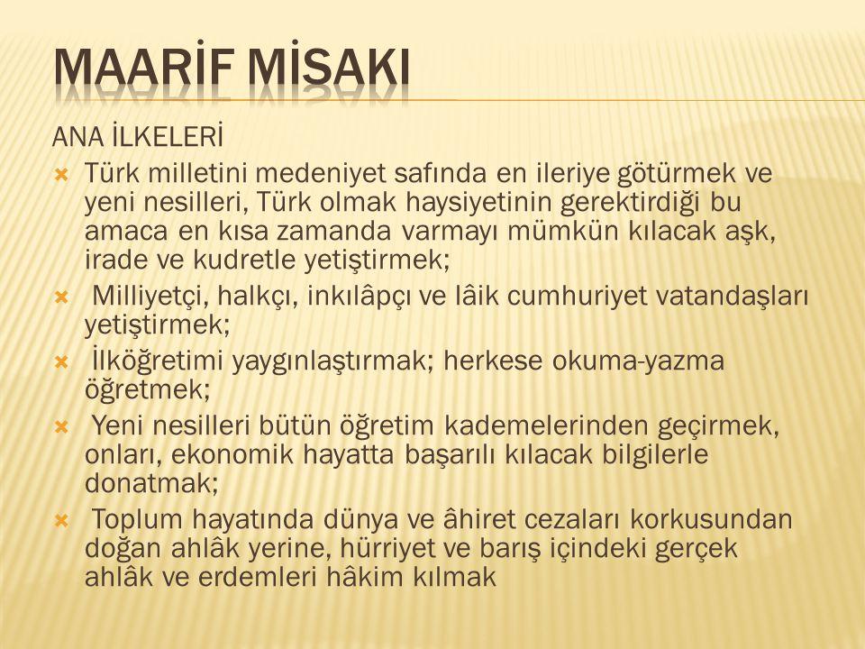 ANA İLKELERİ  Türk milletini medeniyet safında en ileriye götürmek ve yeni nesilleri, Türk olmak haysiyetinin gerektirdiği bu amaca en kısa zamanda v