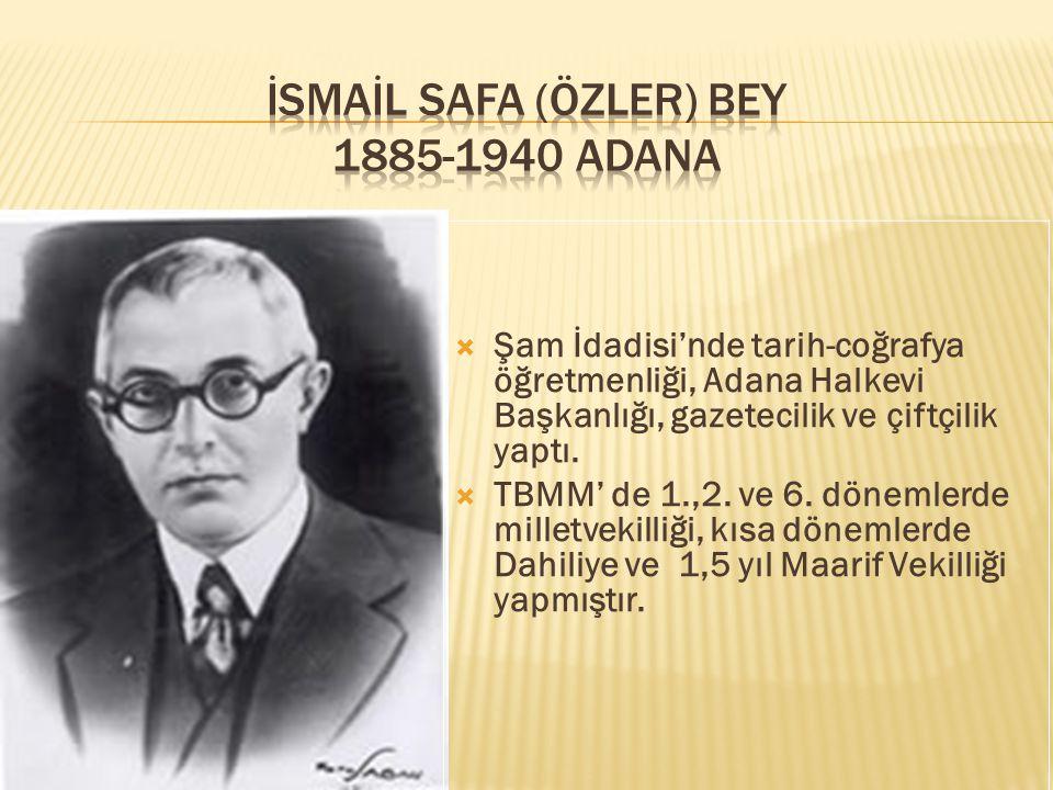  Şam İdadisi'nde tarih-coğrafya öğretmenliği, Adana Halkevi Başkanlığı, gazetecilik ve çiftçilik yaptı.  TBMM' de 1.,2. ve 6. dönemlerde milletvekil
