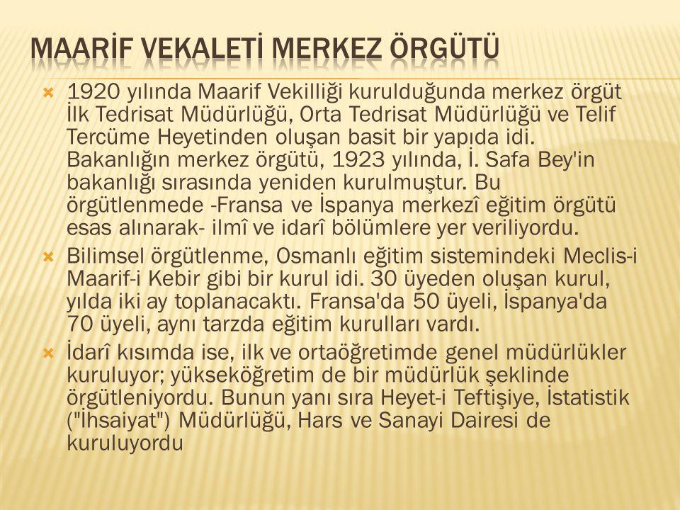  1920 yılında Maarif Vekilliği kurulduğunda merkez örgüt İlk Tedrisat Müdürlüğü, Orta Tedrisat Müdürlüğü ve Telif Tercüme Heyetinden oluşan basit bir