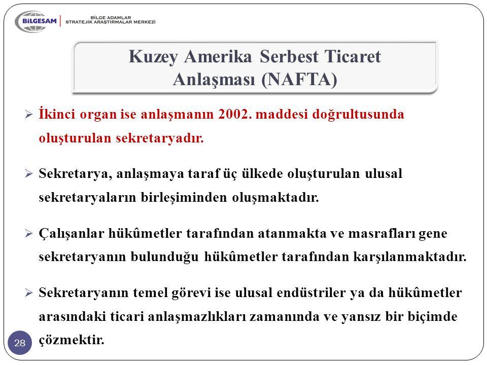 28  İkinci organ ise anlaşmanın 2002. maddesi doğrultusunda oluşturulan sekretaryadır.  Sekretarya, anlaşmaya taraf üç ülkede oluşturulan ulusal sek