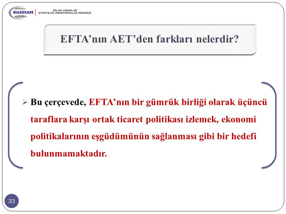 33  Bu çerçevede, EFTA'nın bir gümrük birliği olarak üçüncü taraflara karşı ortak ticaret politikası izlemek, ekonomi politikalarının eşgüdümünün sağ