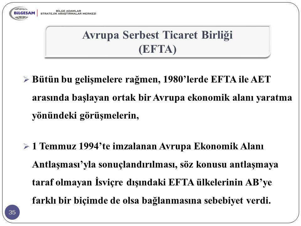 35  Bütün bu gelişmelere rağmen, 1980'lerde EFTA ile AET arasında başlayan ortak bir Avrupa ekonomik alanı yaratma yönündeki görüşmelerin,  1 Temmuz