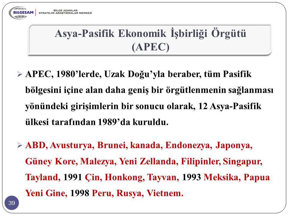 39  APEC, 1980'lerde, Uzak Doğu'yla beraber, tüm Pasifik bölgesini içine alan daha geniş bir örgütlenmenin sağlanması yönündeki girişimlerin bir sonu