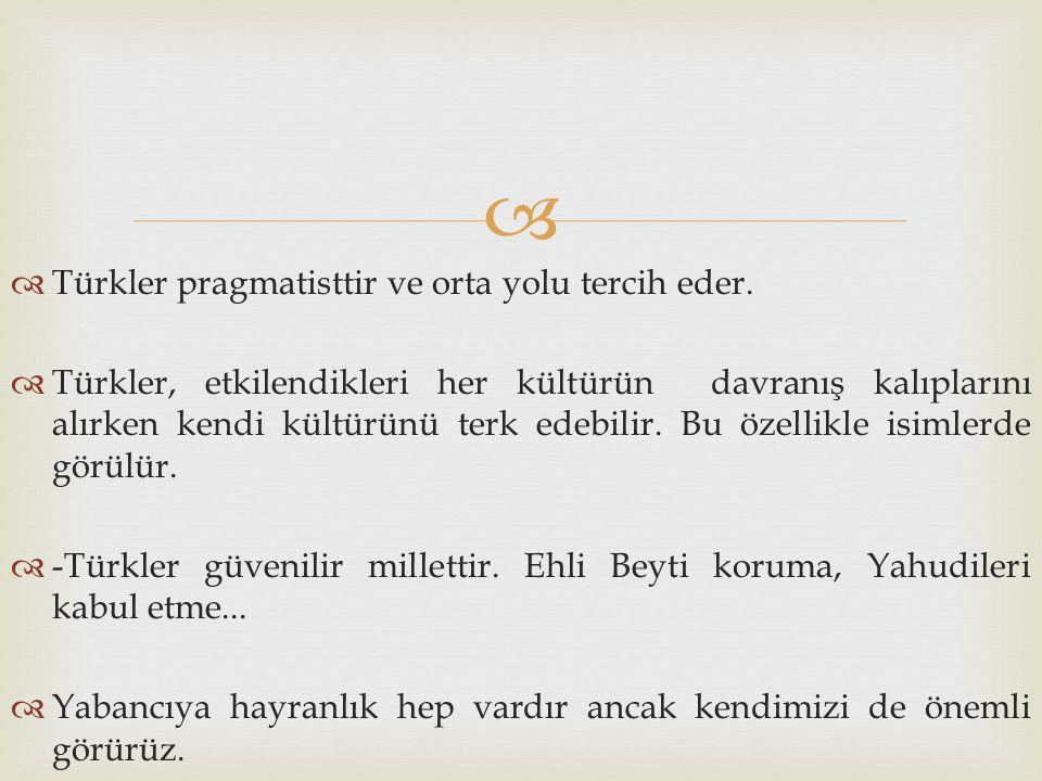   Türkler pragmatisttir ve orta yolu tercih eder.  Türkler, etkilendikleri her kültürün davranış kalıplarını alırken kendi kültürünü terk edebilir.