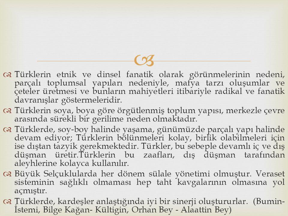   Türklerin etnik ve dinsel fanatik olarak görünmelerinin nedeni, parçalı toplumsal yapıları nedeniyle, mafya tarzı oluşumlar ve çeteler üretmesi ve