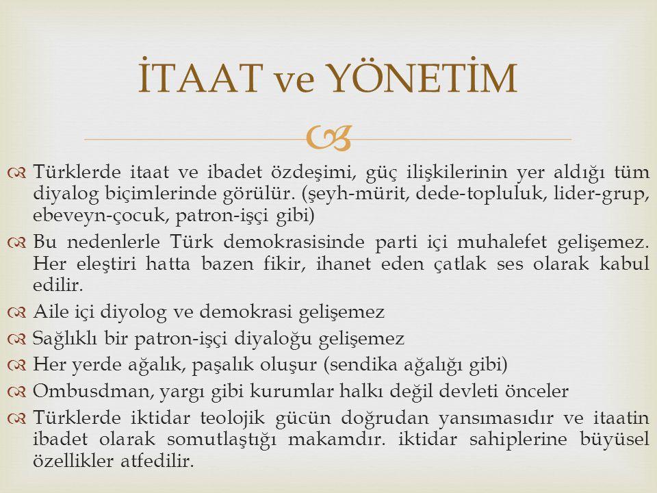   Türklerde itaat ve ibadet özdeşimi, güç ilişkilerinin yer aldığı tüm diyalog biçimlerinde görülür. (şeyh-mürit, dede-topluluk, lider-grup, ebeveyn