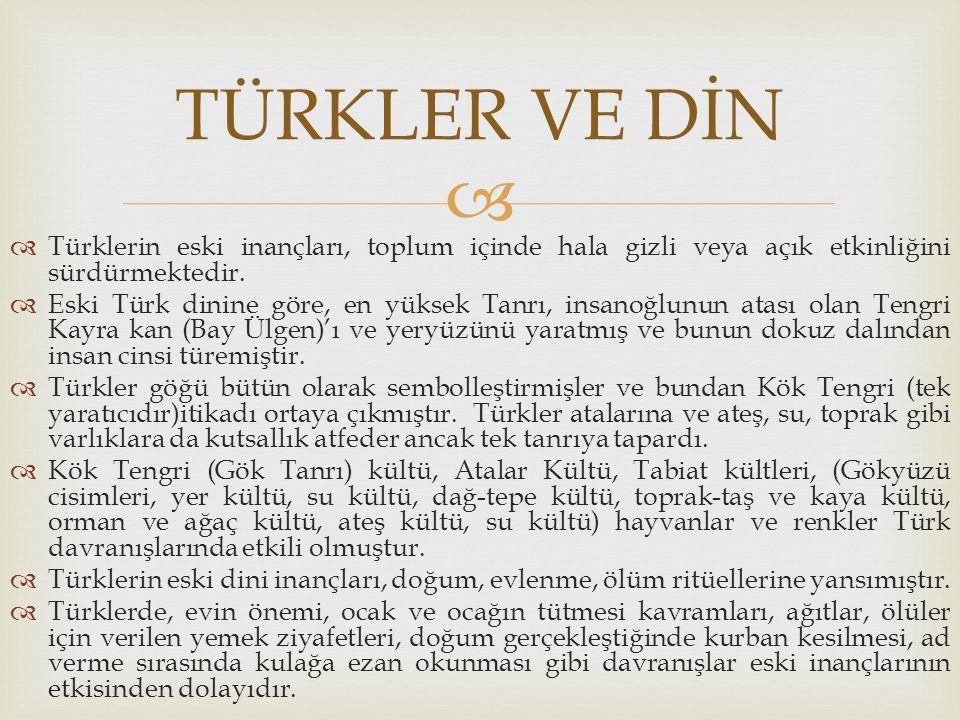   Türklerin eski inançları, toplum içinde hala gizli veya açık etkinliğini sürdürmektedir.  Eski Türk dinine göre, en yüksek Tanrı, insanoğlunun at