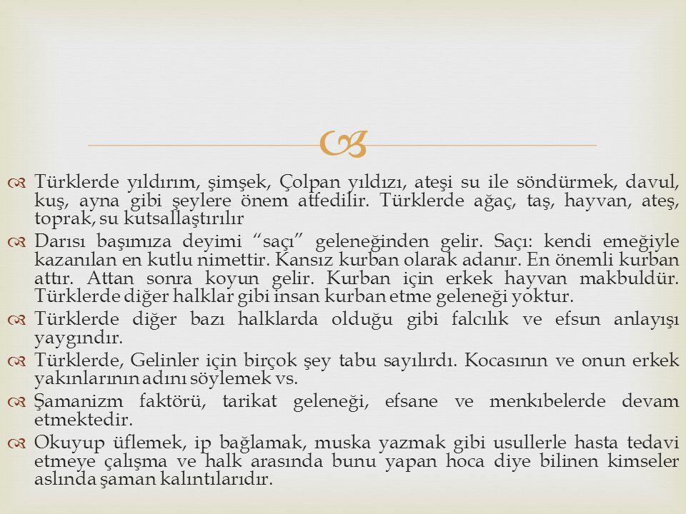   Türklerde yıldırım, şimşek, Çolpan yıldızı, ateşi su ile söndürmek, davul, kuş, ayna gibi şeylere önem atfedilir. Türklerde ağaç, taş, hayvan, ate