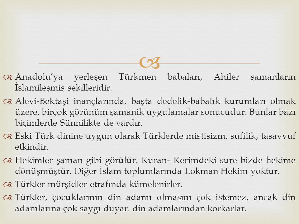   Anadolu'ya yerleşen Türkmen babaları, Ahiler şamanların İslamileşmiş şekilleridir.  Alevi-Bektaşi inançlarında, başta dedelik-babalık kurumları o