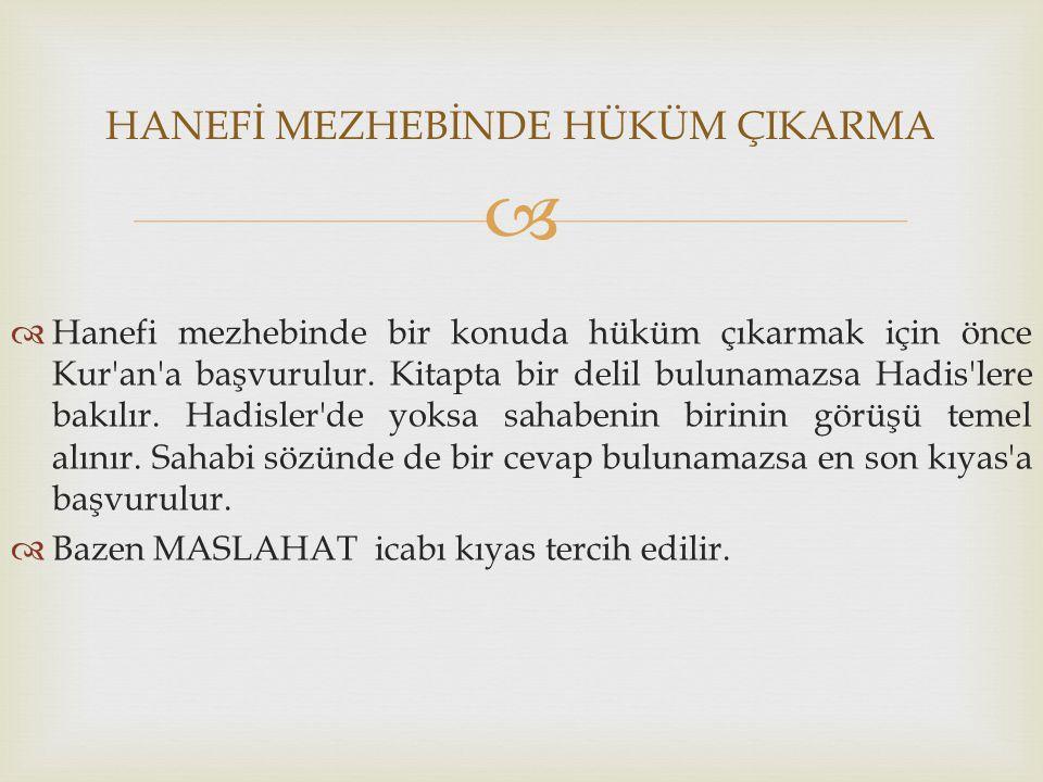   Hanefi mezhebinde bir konuda hüküm çıkarmak için önce Kur'an'a başvurulur. Kitapta bir delil bulunamazsa Hadis'lere bakılır. Hadisler'de yoksa sah