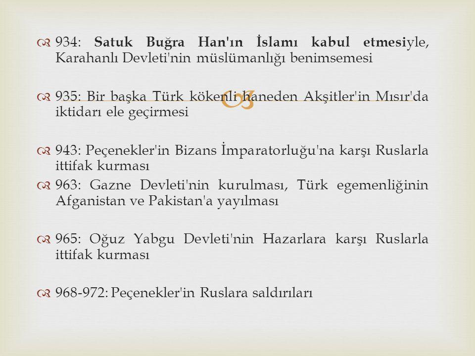   934: Satuk Buğra Han'ın İslamı kabul etmesi yle, Karahanlı Devleti'nin müslümanlığı benimsemesi  935: Bir başka Türk kökenli haneden Akşitler'in