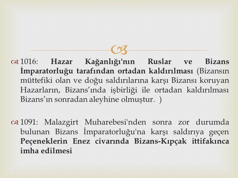   1016: Hazar Kağanlığı'nın Ruslar ve Bizans İmparatorluğu tarafından ortadan kaldırılması (Bizansın müttefiki olan ve doğu saldırılarına karşı Biza