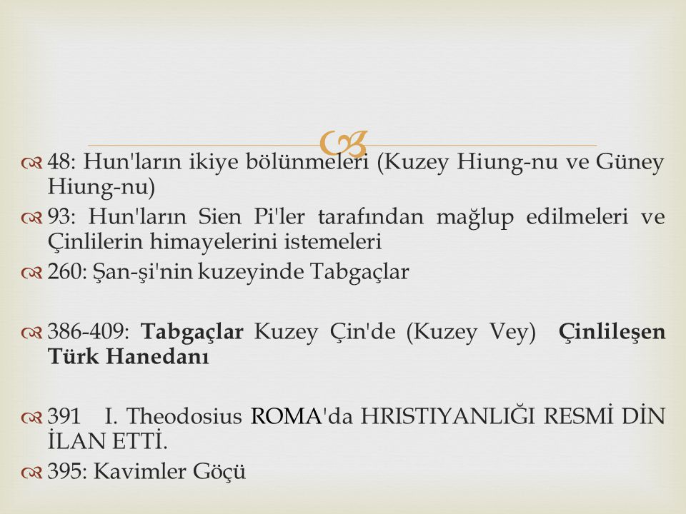   1092: Sultan Melikşah ın Haşhaşiler tarafından öldürülmesi  1093: Kıpçaklar ın Ruslar ı kesin yenilgiye uğratması  1096-1099: Birinci Haçlı Seferi sonucunda İznik ve Batı Anadolu nun Bizans tarafından geri alınması, Suriye ve Filistin kıyılarında Haçlı devletçiklerinin oluşması  1100: Danişmendlilerin Antakya Prensliği ni Malatya da yenerek Haçlıların Güneydoğu Anadolu ya ilerlemelerini kesin olarak durdurmaları  1101: Anadolu Selçuklu Devleti ve Danişmendlilerin Haçlılar ı Kastamonu ve Merzifon da mağlup edişleri