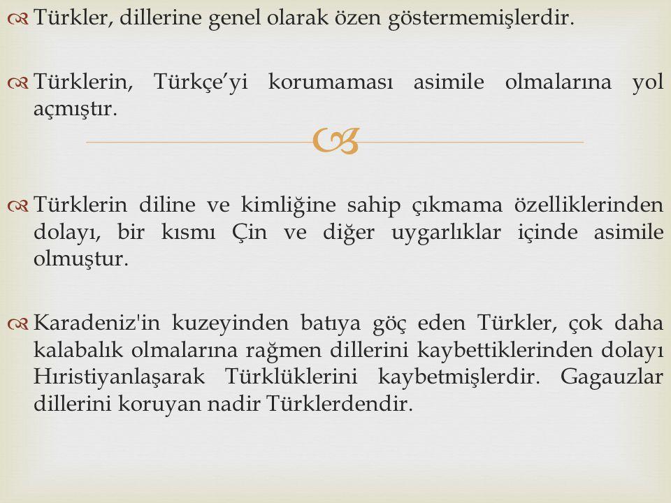   Türkler, dillerine genel olarak özen göstermemişlerdir.  Türklerin, Türkçe'yi korumaması asimile olmalarına yol açmıştır.  Türklerin diline ve k