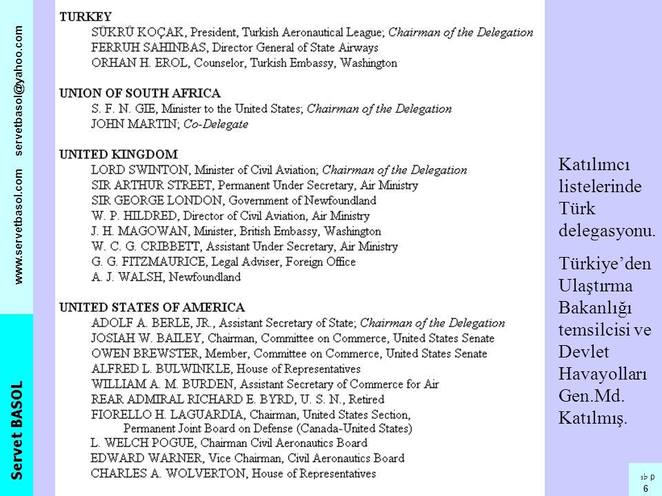 Servet BASOL www.servetbasol.com servetbasol@yahoo.com sb p 6 Katılımcı listelerinde Türk delegasyonu. Türkiye'den Ulaştırma Bakanlığı temsilcisi ve D