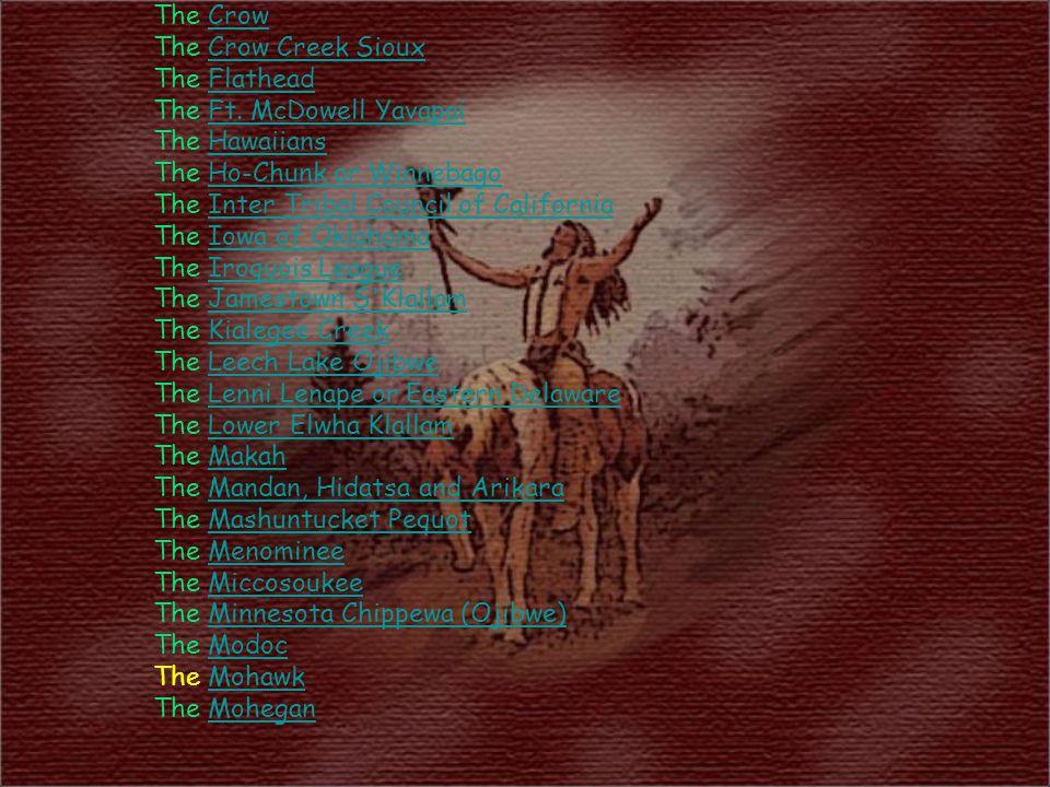 The CrowCrow The Crow Creek SiouxCrow Creek Sioux The FlatheadFlathead The Ft. McDowell YavapaiFt. McDowell Yavapai The HawaiiansHawaiians The Ho-Chun