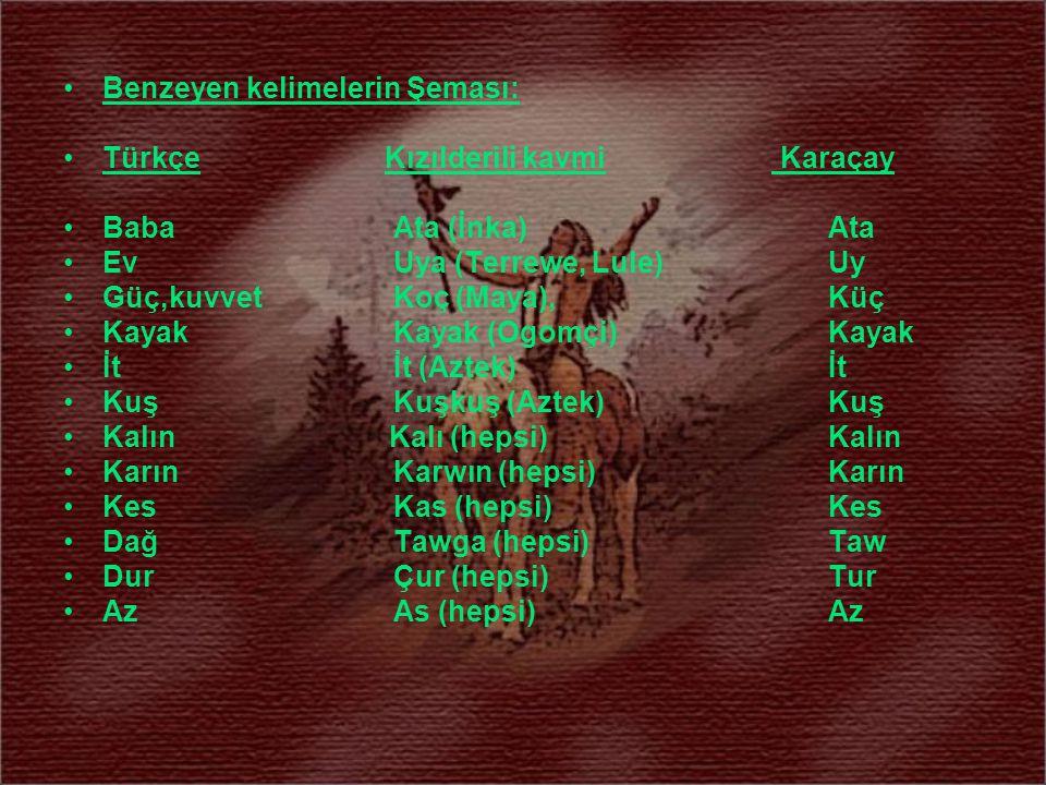 Benzeyen kelimelerin Şeması: Türkçe Kızılderili kavmi Karaçay Baba Ata (İnka) Ata Ev Uya (Terrewe, Lule) Uy Güç,kuvvet Koç (Maya), Küç Kayak Kayak (Og