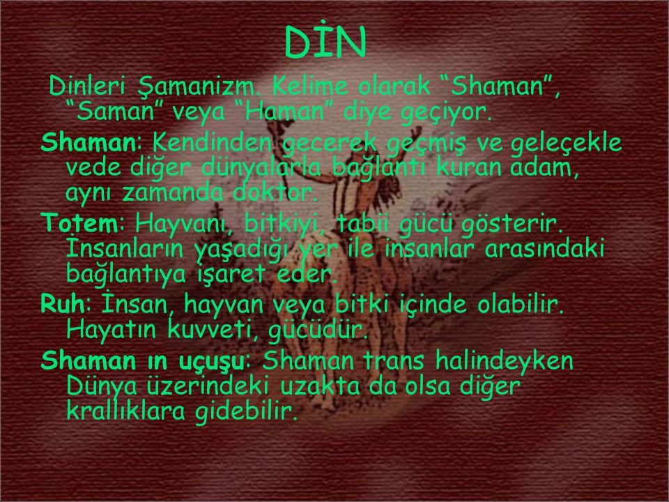 """DİN Dinleri Şamanizm. Kelime olarak """"Shaman"""", """"Saman"""" veya """"Haman"""" diye geçiyor. Shaman: Kendinden gecerek geçmiş ve geleçekle vede diğer dünyalarla b"""