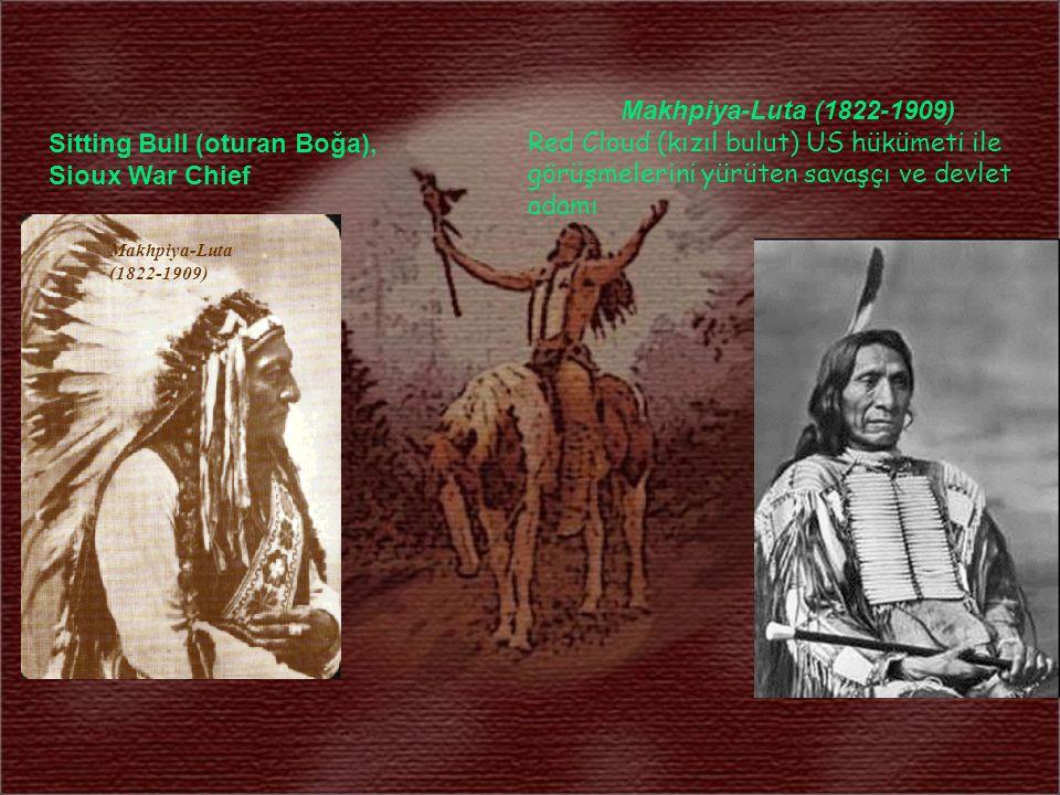 Sitting Bull (oturan Boğa), Sioux War Chief Makhpiya-Luta (1822-1909) Red Cloud (kızıl bulut) US hükümeti ile görüşmelerini yürüten savaşçı ve devlet